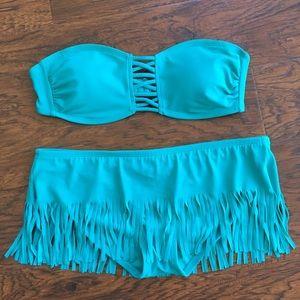 Other - Teal bikini with fringe